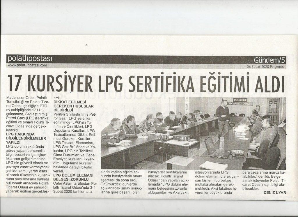 06.02.2020- Polatlı Postası-17 KURSİYER LPG SERTİFİKA EĞİTİMİ ALDI