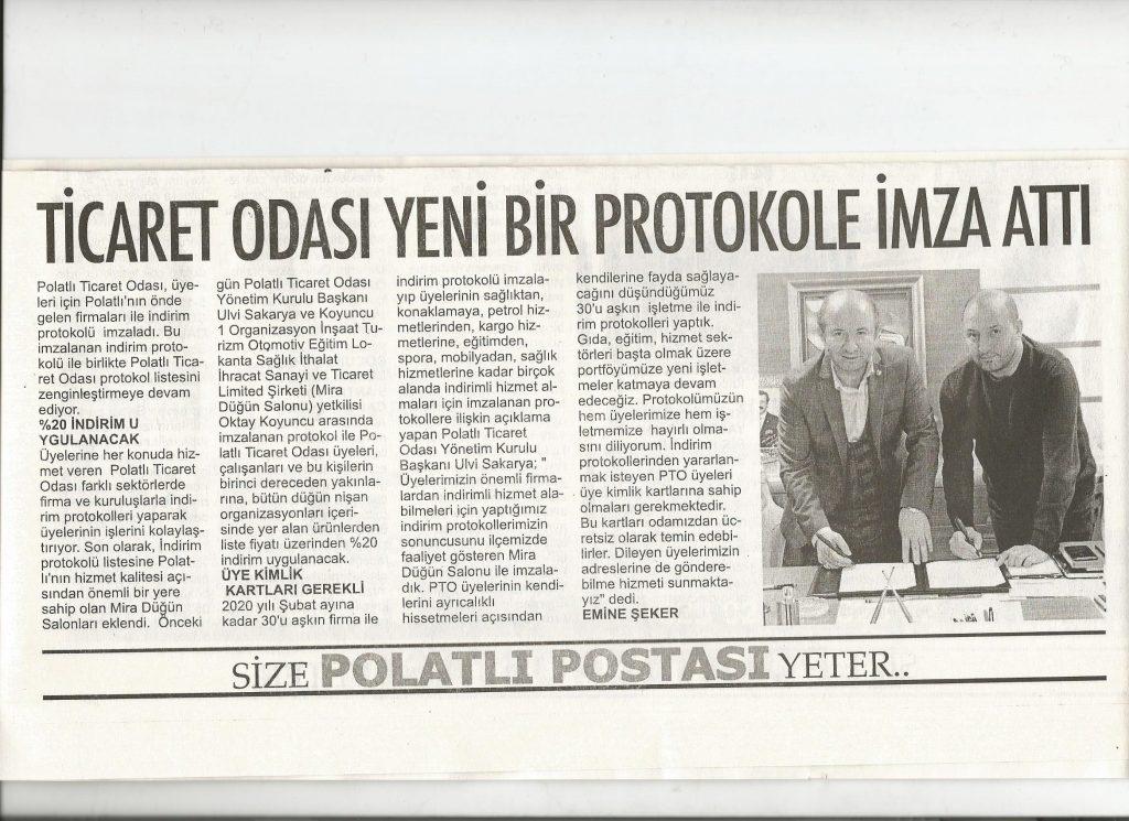 06.02.2020- Polatlı Postası - TİCARET ODASI YENİ BİR PROTOKOLE İMZA ATTI