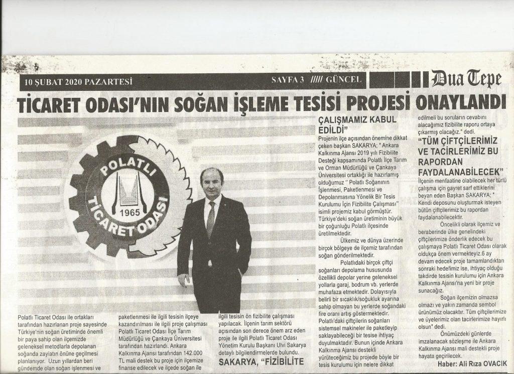 10.02.2020- Duatepe Gazetesi - TİCARET ODASININ SOĞAN İŞLEME TESİSİ PROJESİ ONAYLANDI
