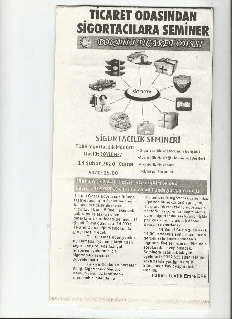 12.02.2020- Duatepe Gazetesi- TİCARET ODASINDAN SİGORTACILARA SEMİNER
