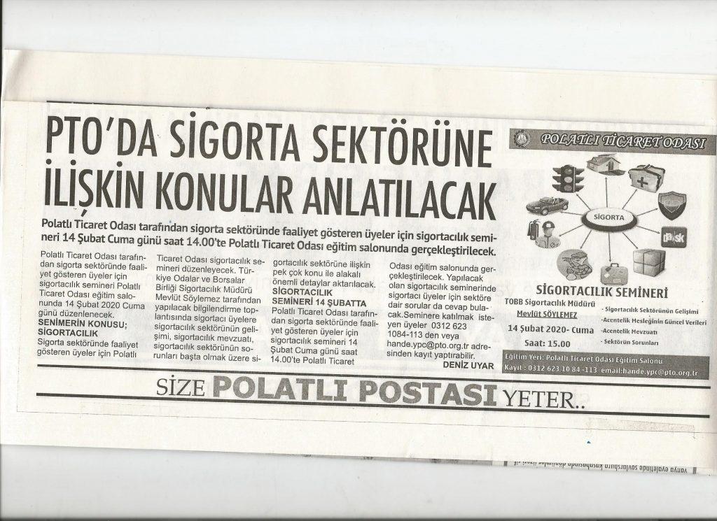 12.02.2020- Polatlı Postası- PTO'DA SİGORTA SEKTÖRÜNE İLİŞKİN KONULAR ANLATILACAK