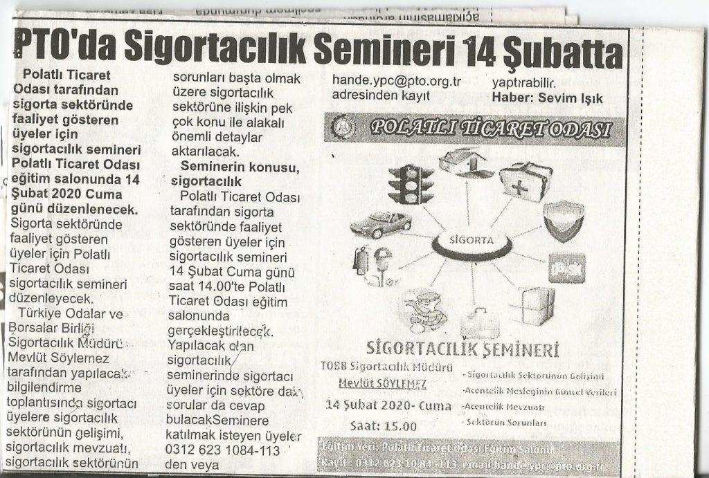 13.02.2020- İstiklal Gazetesi- PTO'DA SİGORTACILIK SEMİNERİ 14 ŞUBATTA