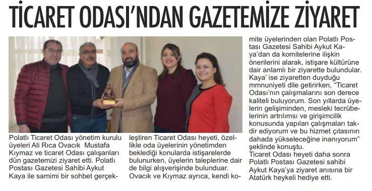 13.02.2020- Polatlı Postası- TİCARET ODASINDAN GAZETEMİZE ZİYARET