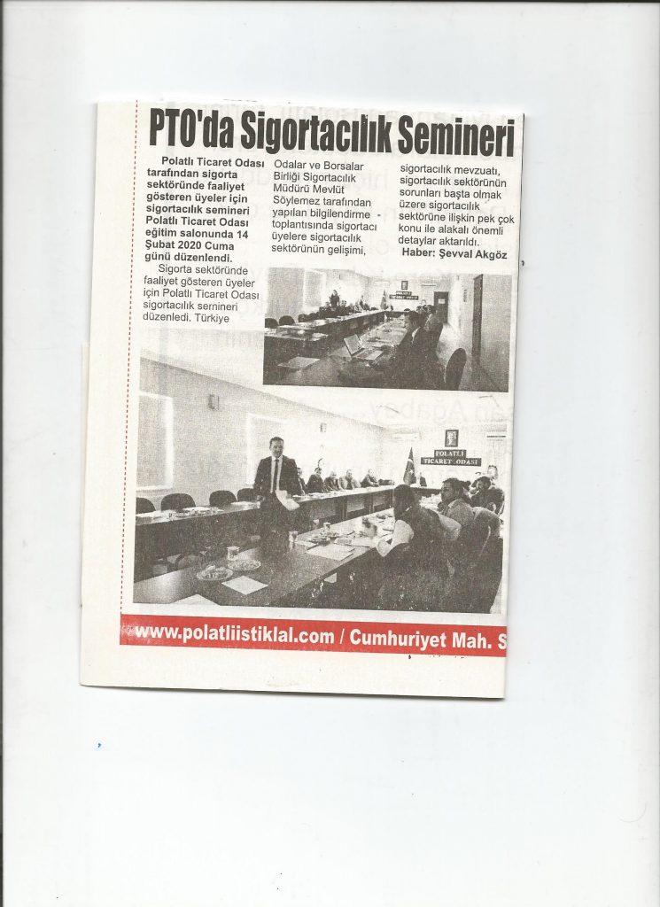 17.02.2020- İstiklal Gazetesi- PTO'DA SİGORTACILIK SEMİNERİ
