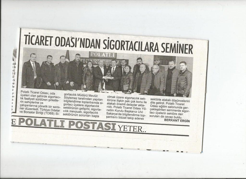 17.02.2020- Polatlı Postası- TİCARET ODASINDAN SİGORTACILARA SEMİNER