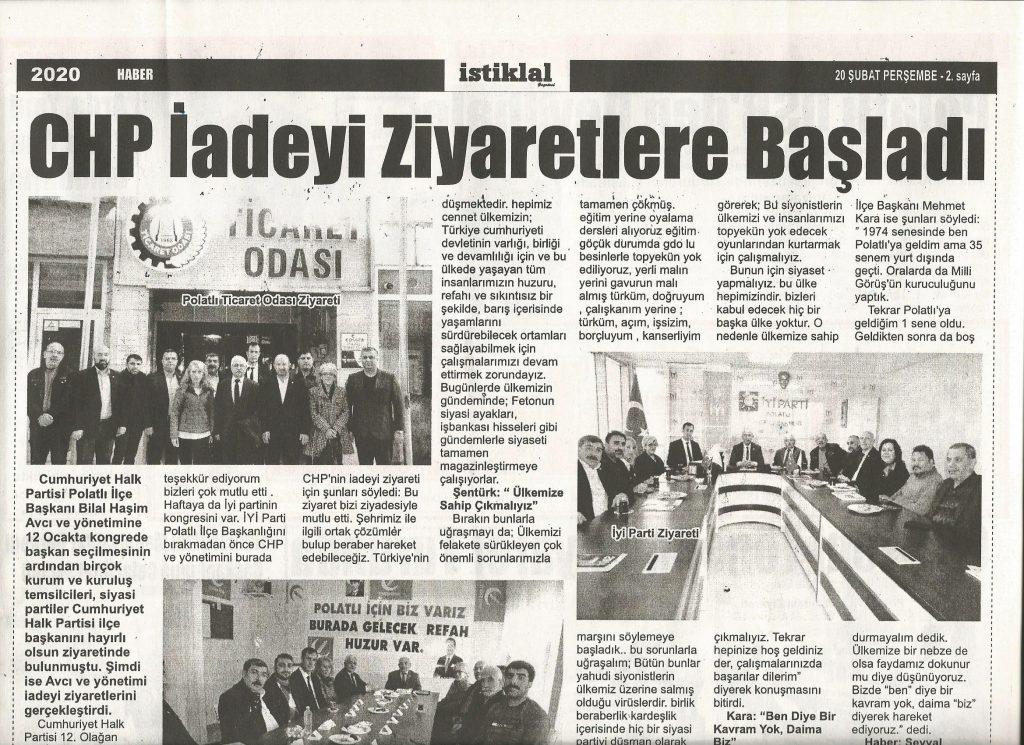 20.02.2020- İstiklal - CHP İADEİ ZİYARETLERE BAŞLADI