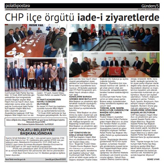 20.02.2020- Polatlı Postası - CHP İLÇE ÖRGÜTÜ İADE-İ ZİYARETLERDE