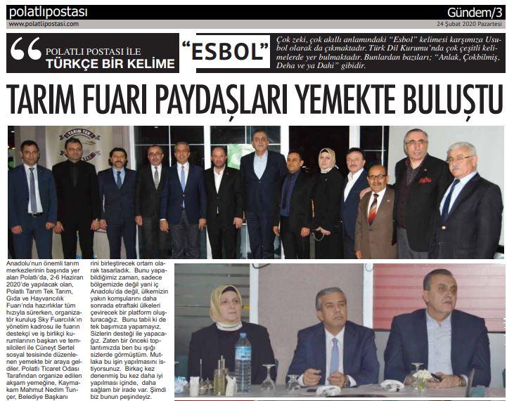 24.02.2020- Polatlı Postası- TARIM FUARI PAYDAŞLARI YEMEKTE BULUŞTU