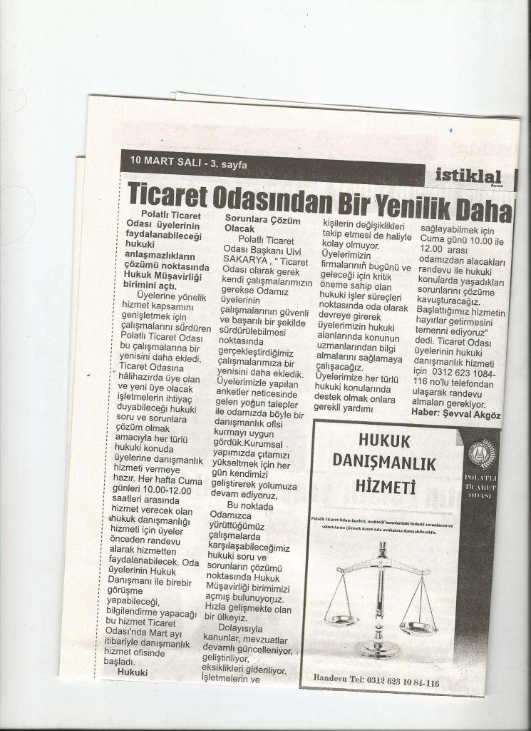 10.03.2020- İstiklal Gazetesi- TİCARET ODASINDAN BİR YENİLİK DAHA