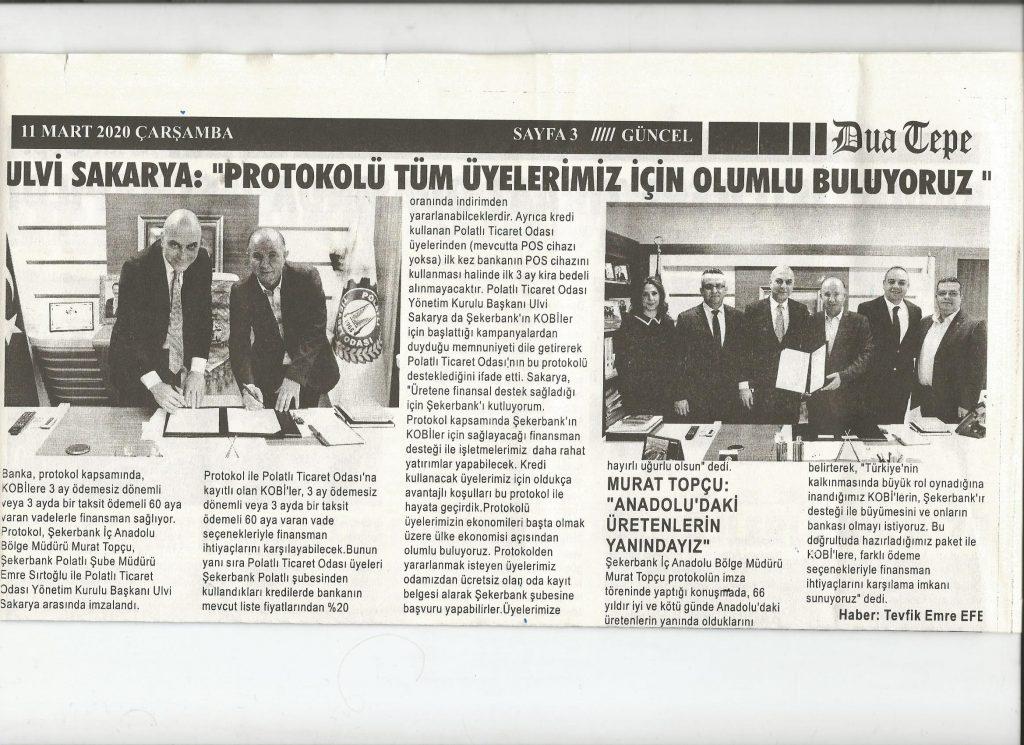 11.03.2020- Duatepe Gazetesi- ULVİ SAKARYA; PROTOKOLÜ TÜM ÜYELERİMİZ İÇİN OLUMLU BULUYORUZ