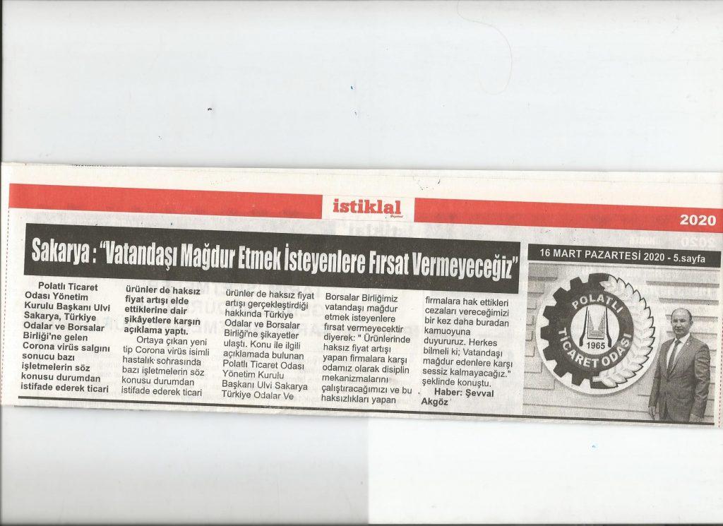 16.03.2020- Gazetesi- VATANDAŞI MAĞDUR ETMEK İSTEYENLERE FIRSAT VERMEYECEĞİZ