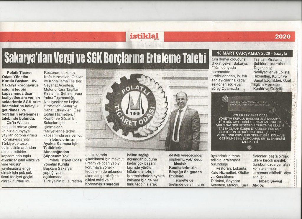 18.03.2020- İstiklal Gazetesi- SAKARYA'DAN SGK VE PRİM BORÇLARINA ERTLEME TALEBİ