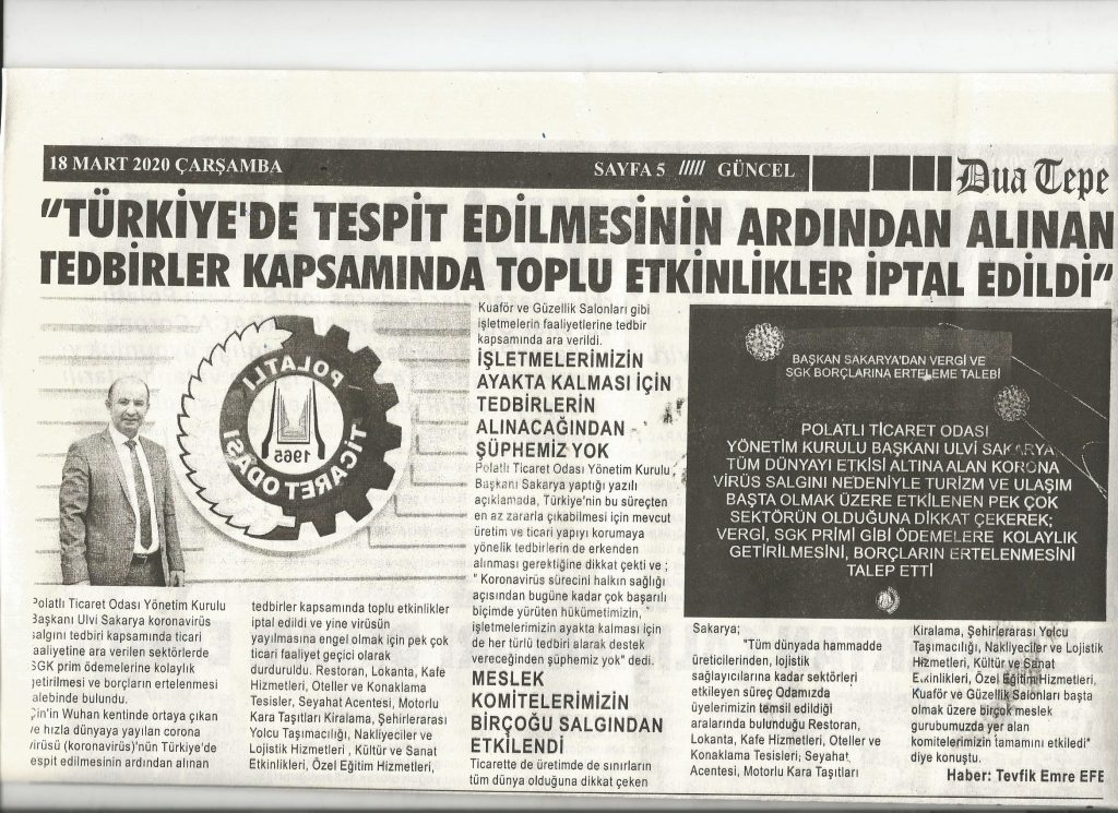 18.03.2020- Duatepe Gazetesi -TÜRKİYEDE TESPİT EDİLMESİNİN ARDINDAN TOPLU ETKİNLİKLER İPTAL EDİLDİ