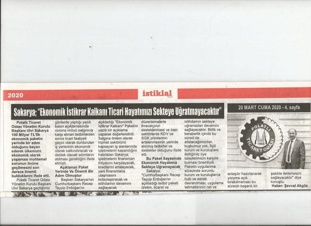 20.03.2020- İstiklal Gazetesi- EKONOMİK İSTİKRAR KALKANI PAKETİ EKONOMİK HAYATIMIZI SEKTEYE UĞRATMAYACAKTIR