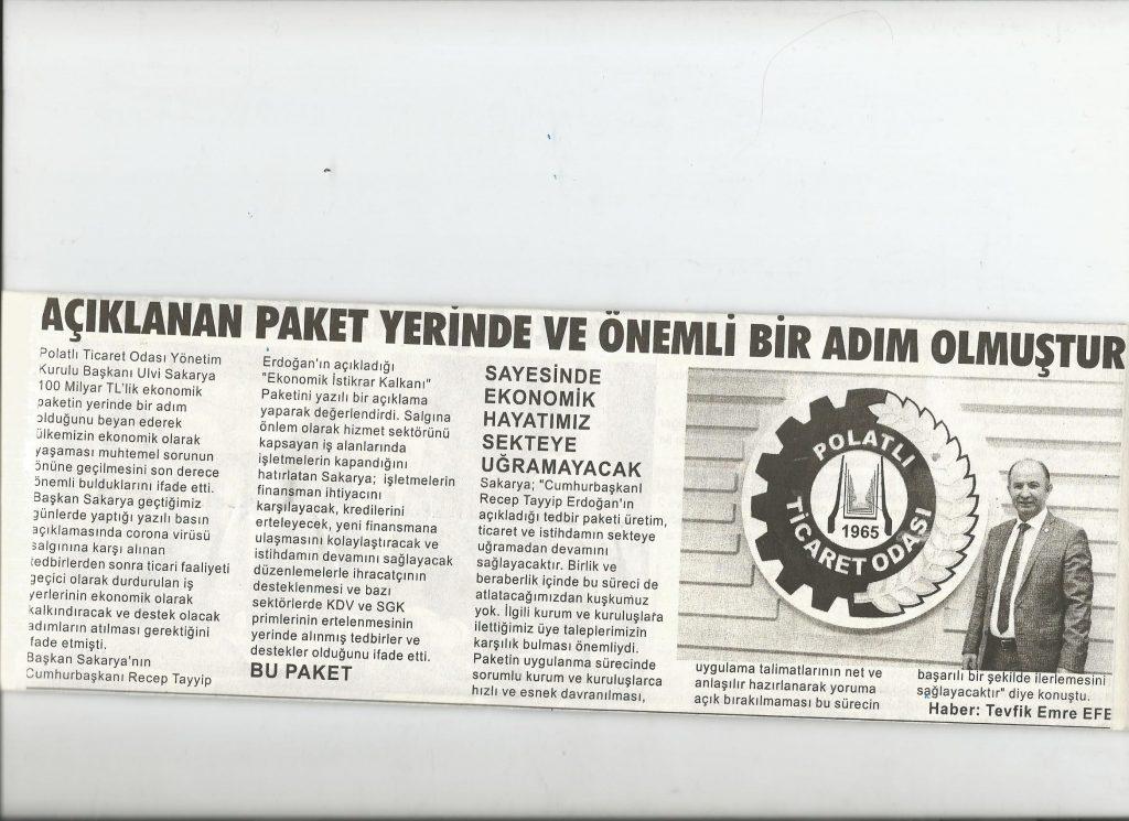 20.03.2020- Duatepe Gazetesi - SAKARYA; AÇIKLANAN PAKET YERİNDE VE ÖNEMLİ BİR ADIM OLMUŞTUR