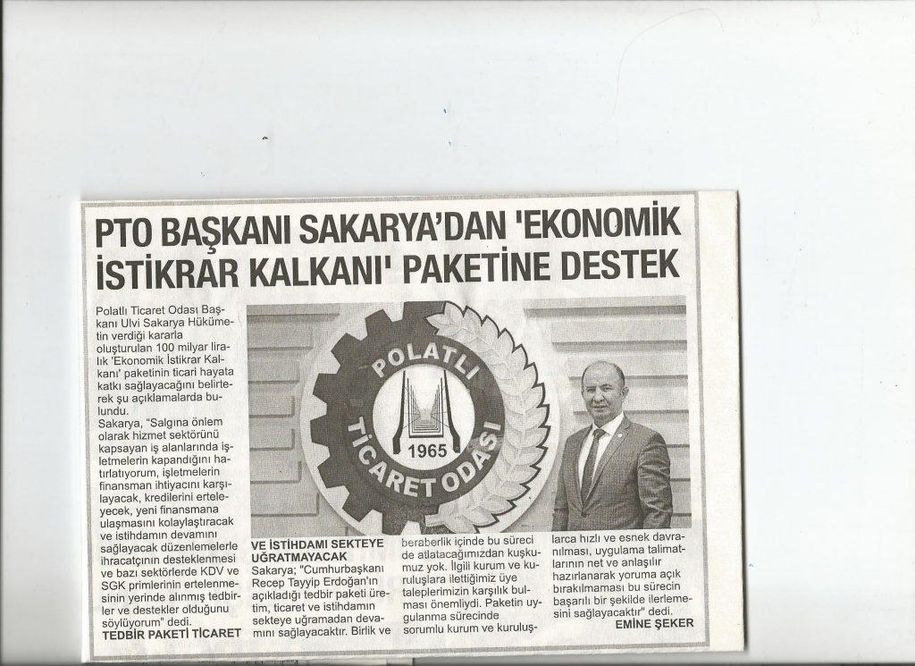 20.03.2020- Polatlı Postası - PTO BAŞKANI SAKARRYA'DAN EKONOMİK İSTİKRAR KALKANI PAKETİNE DESTEK