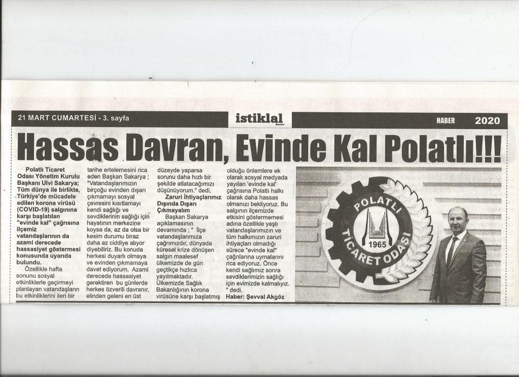 23.03.2020- İstiklal Gazetesi - HASSAS DAVRAN EVİNDE KAL POLATLI