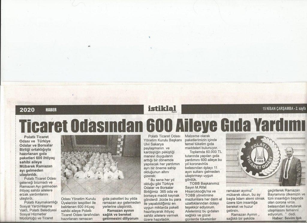15.04.2020 İstiklal Gazetesi- TİCARET ODASI'NDAN 600 AİLEYE GIDA YARDIMI
