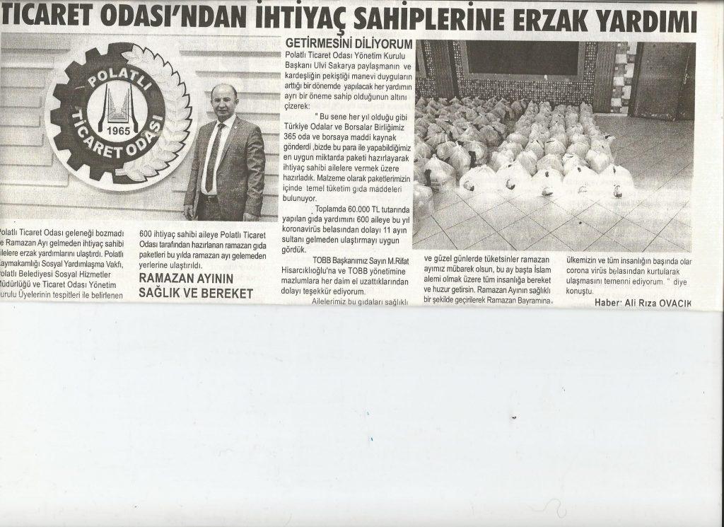 16.04.2020 - Duatepe Gazetesi - TİCARET ODASINDAN İHTİYAÇ SAHİPLERİNE ERZAK YARDIMI