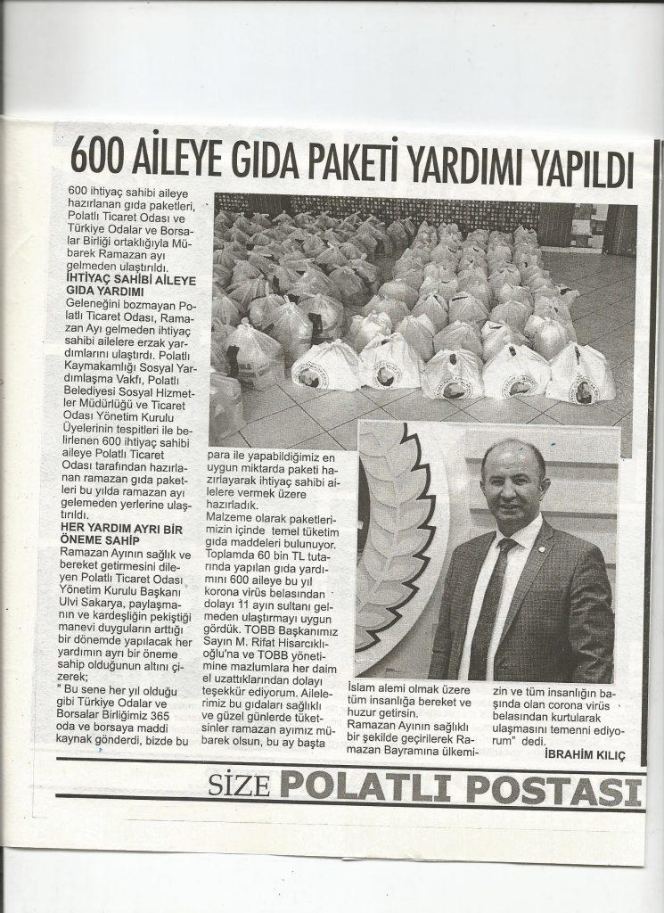 16.04.2020- Polatlı Postası- 600 AİLEYE GIDA YARDIMI YAPILDI