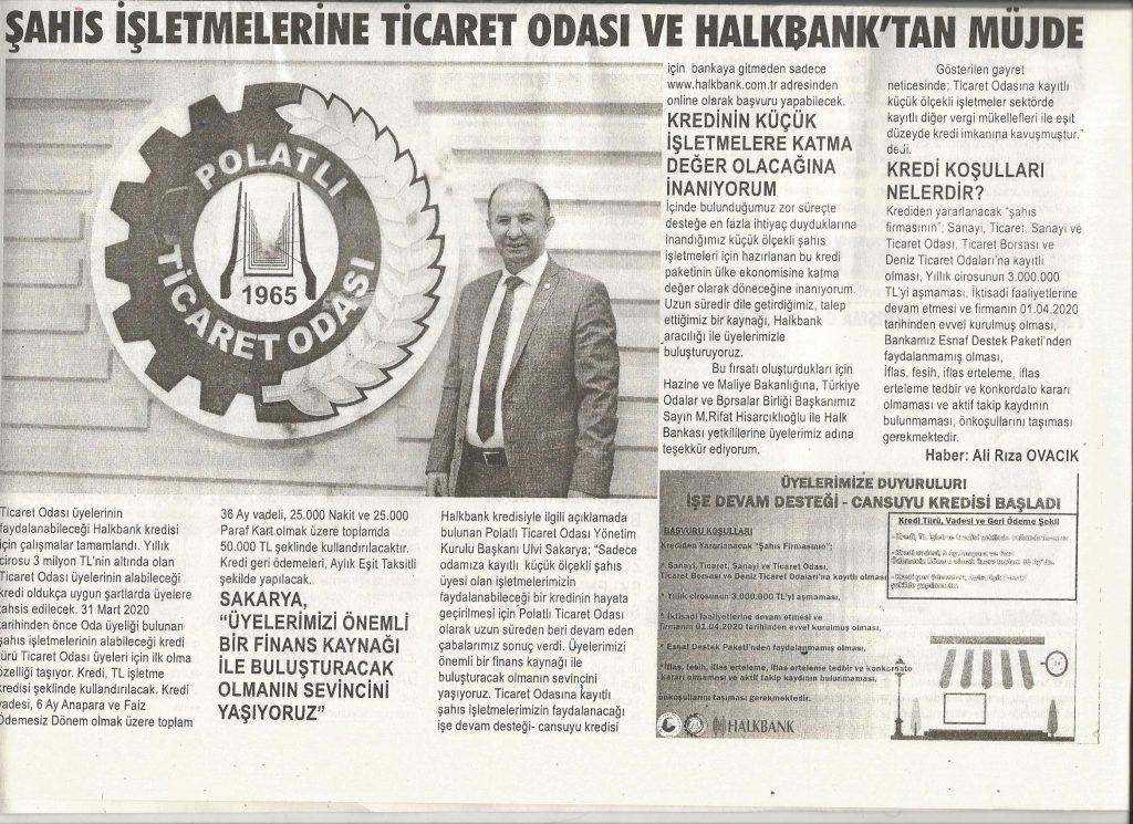 30.04.2020- Duatepe Gazetesi- ŞAHIS İŞLETMELERİNE TİCARET ODASI VE HALKBANK'TAN MÜJDE