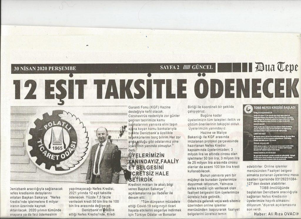 30.04.2020- Duatepe Gazetesi- 12 EŞİT TAKSİTLE ÖDENECEK