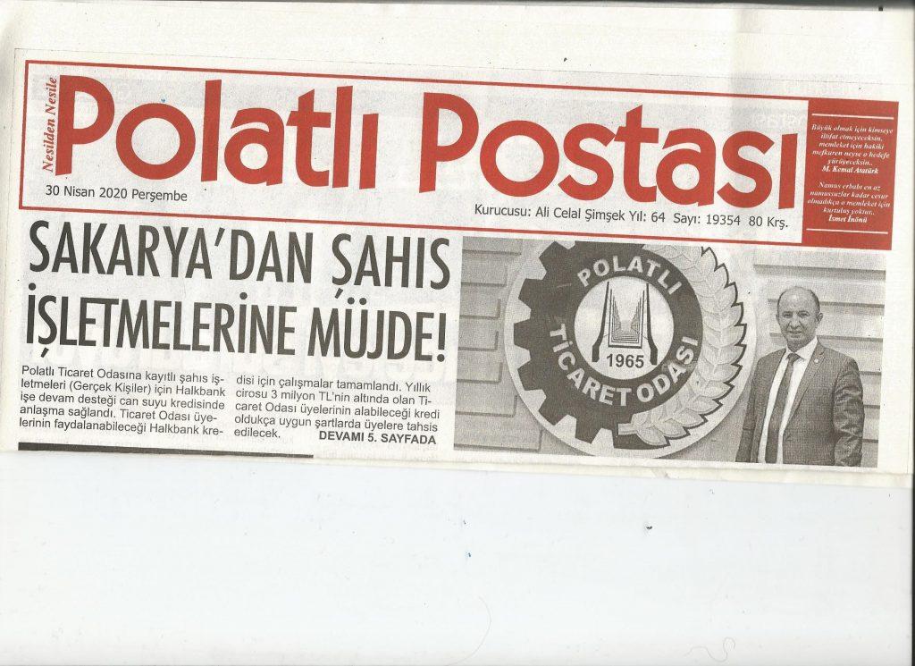 30.04.2020 Polatlı Postası Manşet- SAKARYA'DAN ŞAHIS İŞLETMELERİNE MÜJDE