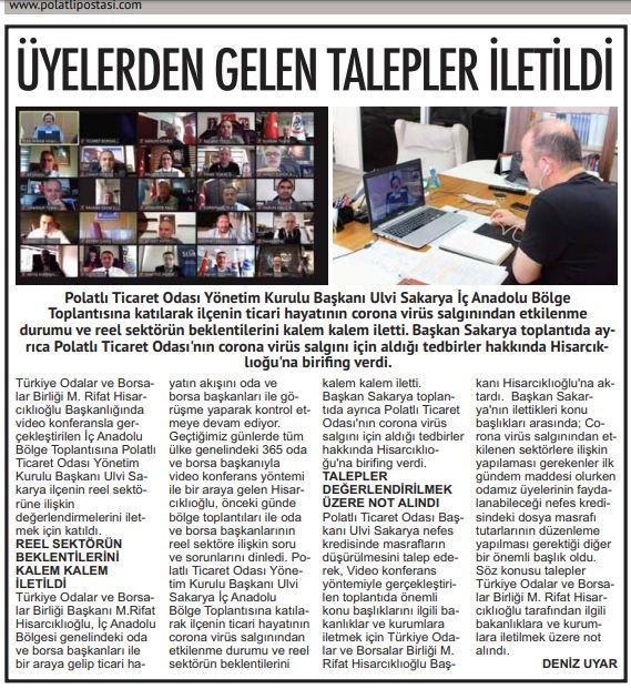 14.05.2020- Polatlı Postası- ÜYELERDEN GELEN TALEPLER İLETİLDİ