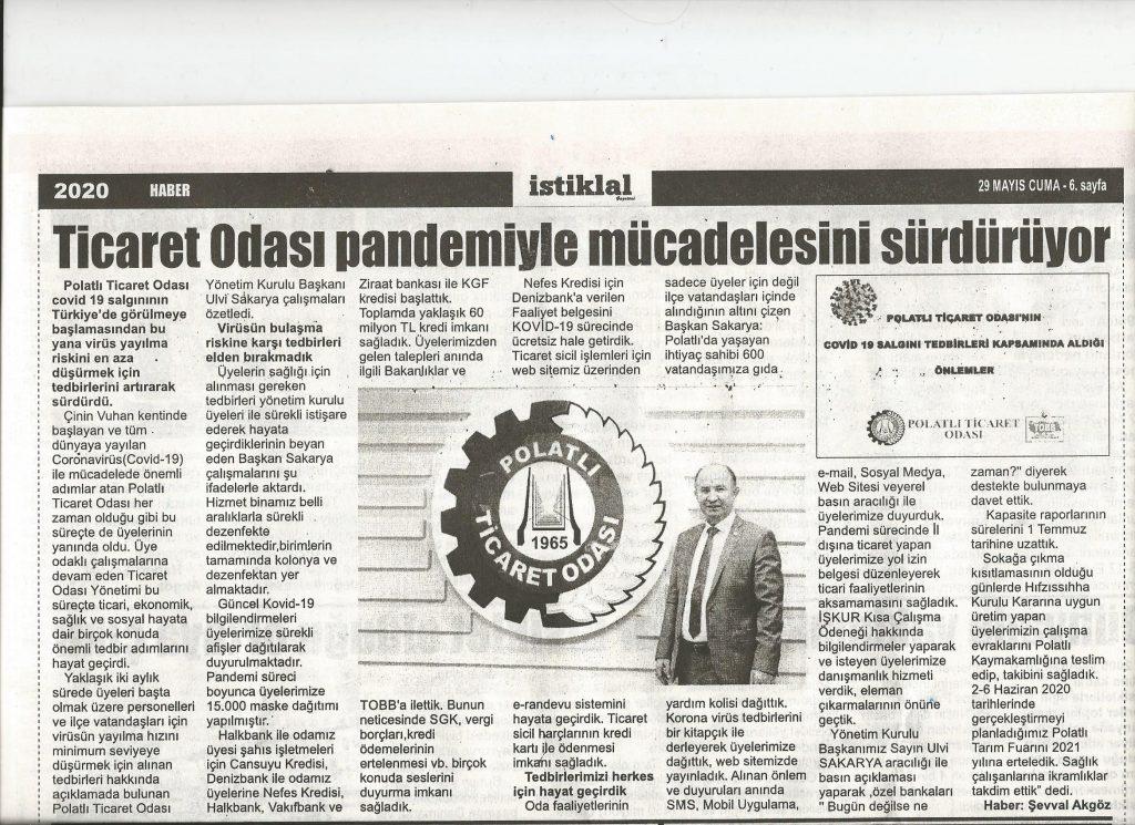 29.05.2020- İsitklal Gazetesi- TİCARET ODASI PANDEM,YLE MÜCADELESİNİ SÜRDÜRÜYOR