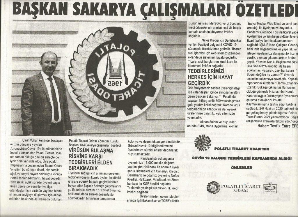 30.05.2020- Duatepe Gazetesi- BAŞKAN SAKARYA ÇALIŞMALARI ÖZETLEDİ