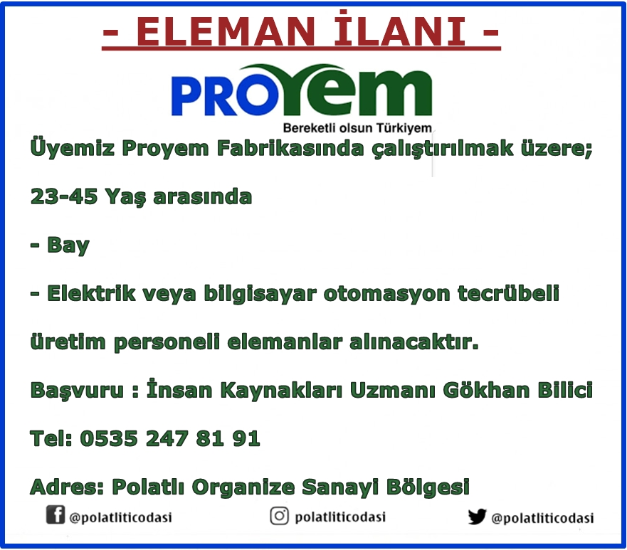 proyem eleman ilanı