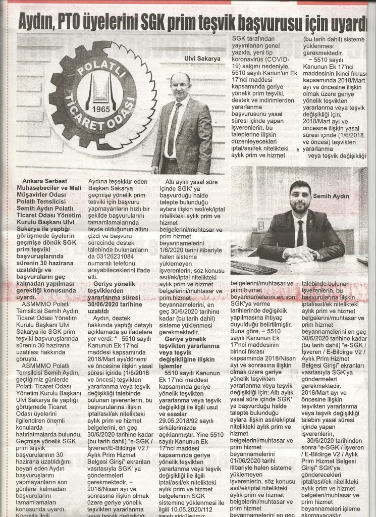 08.06.2020- İstiklal Gazetesi- AYDIN; PTO ÜYELERİNİ SGK PRİM TEŞVİK BAŞVURULARI İÇİN UYARDI
