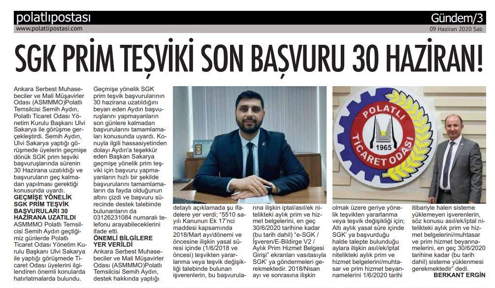 09.06.2020- Polatlı Postası- SGK PRİM TEŞVİKİ SON BAŞVURU 30 HAZİRAN