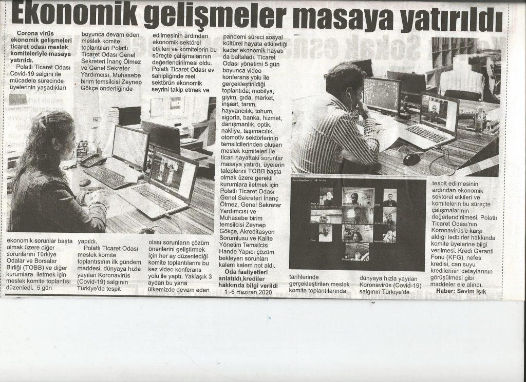 10.06.2020-İstiklal Gazetesi- EKONOMİK GELİŞMELER MASAYA YATIRILDI