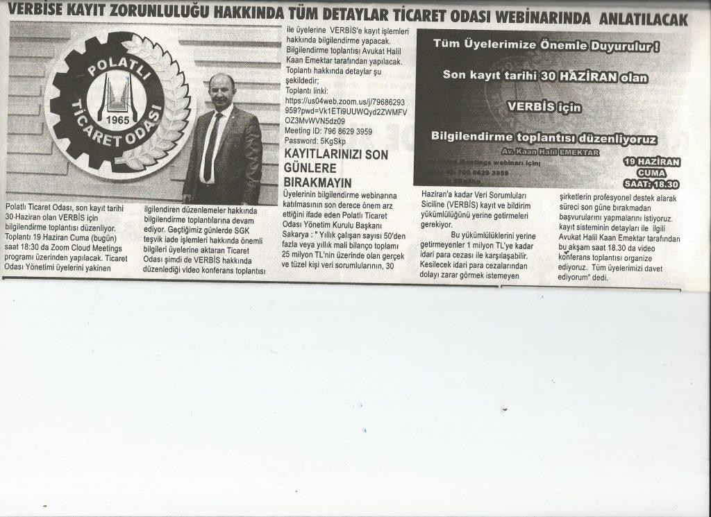 19.03.2020- Duatepe Gazetesi- VERBİSE KAYIT ZORUNLULUĞU HAKKINDA TÜM DETAYLAR TİCARET ODASINDA ANLATILACAK