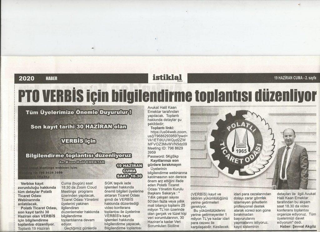 19.06.2020- İstiklal Gazetesi- PTO VERBİS İÇİN BİLGİLENDİRME TOPLANTISI DÜZENLİYOR
