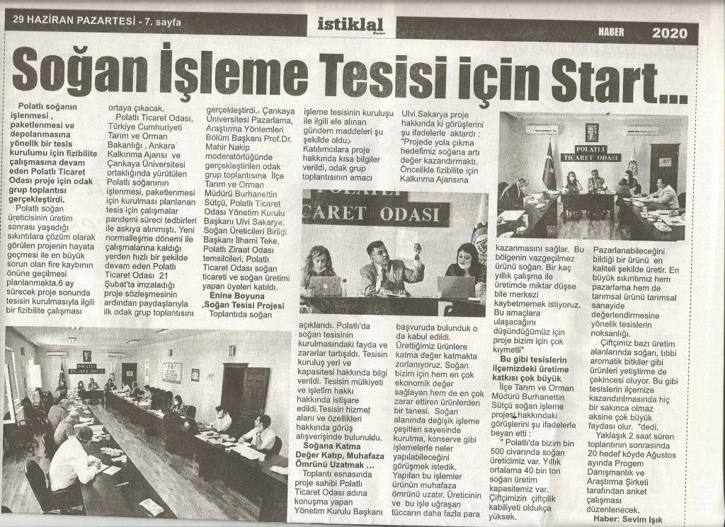 29.06.2020- İstiklal Gazetesi- SOĞAN İŞLEME TESİSİ İÇİN START