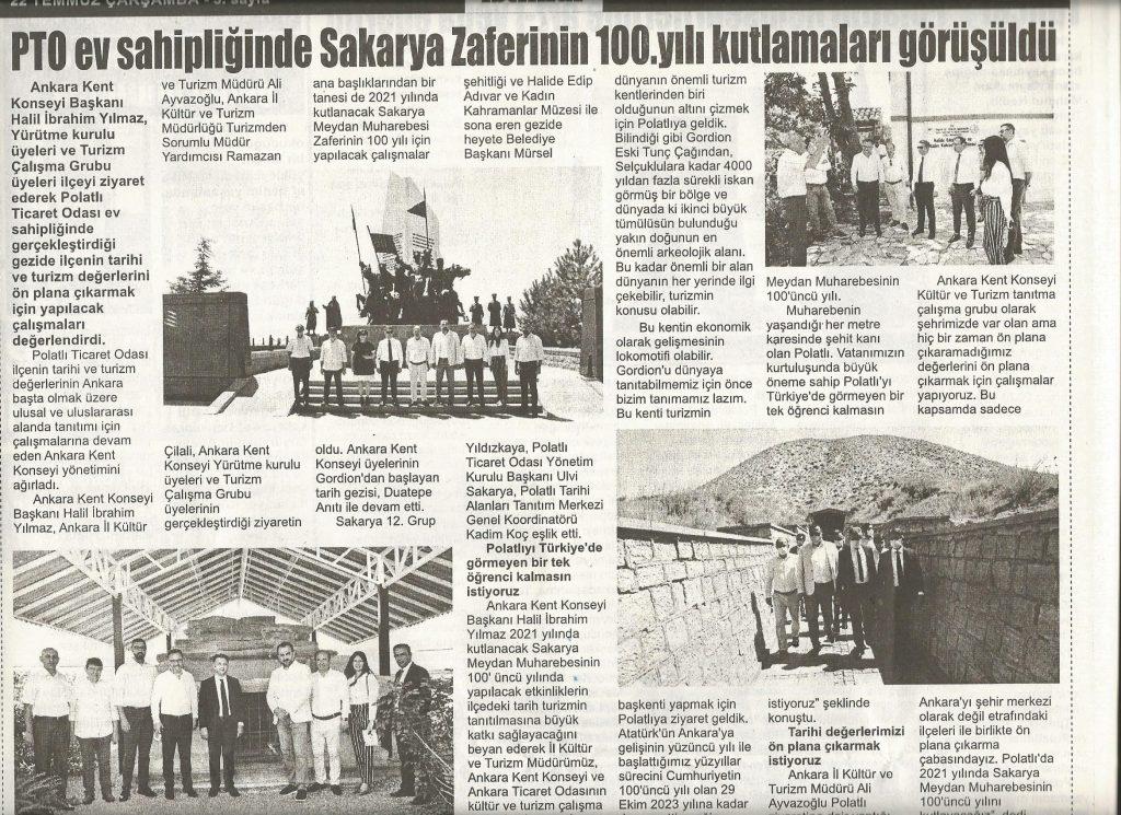 22.07.2020- İstiklal Gazetsi- PTO EV SAHPLİĞİNDE SAKARYA ZAFERİ'NİN 100. YIL KUTLAMALRI GÖRÜŞÜLDÜ