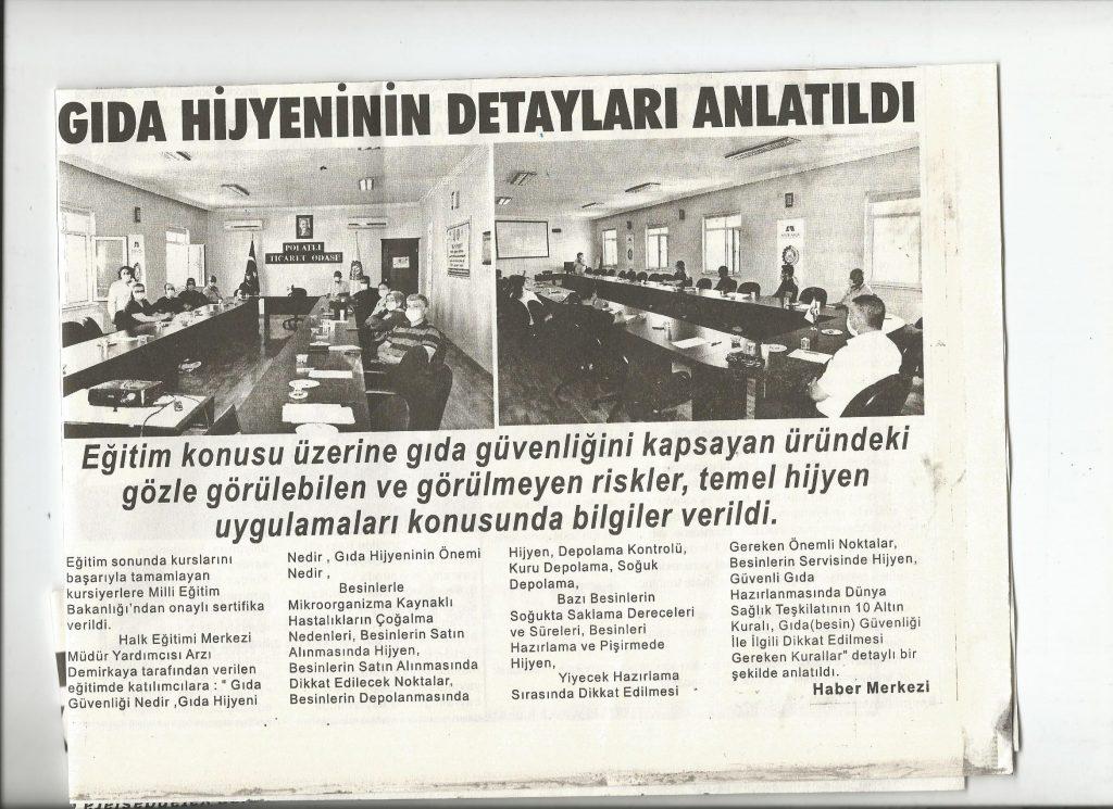 30.0.72020- Duatepe Gazetesi- GIDA HİJYENİNİN DETAYLARI ANLATILDI