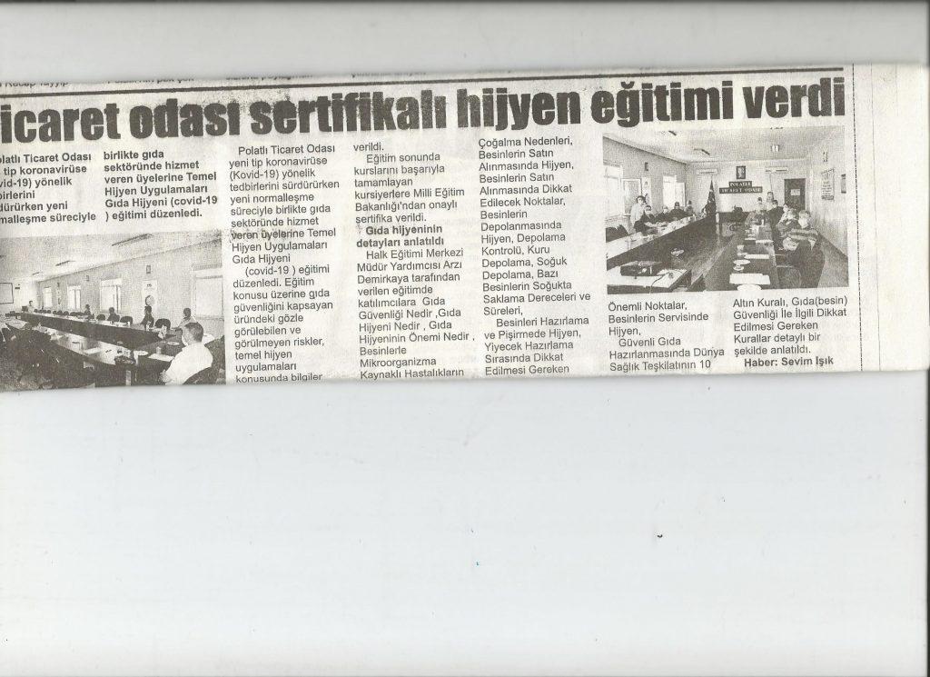 30.07.2020- İstiklal Gazetesi- TİCARET ODASI SERTİFİKALI HİJYEN EĞİTİMİ VERDİ