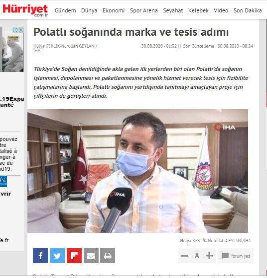 30.08.2020- Hürriyet .com -POLATLI SOĞANINDA MARKA VE TESİS ADIMI