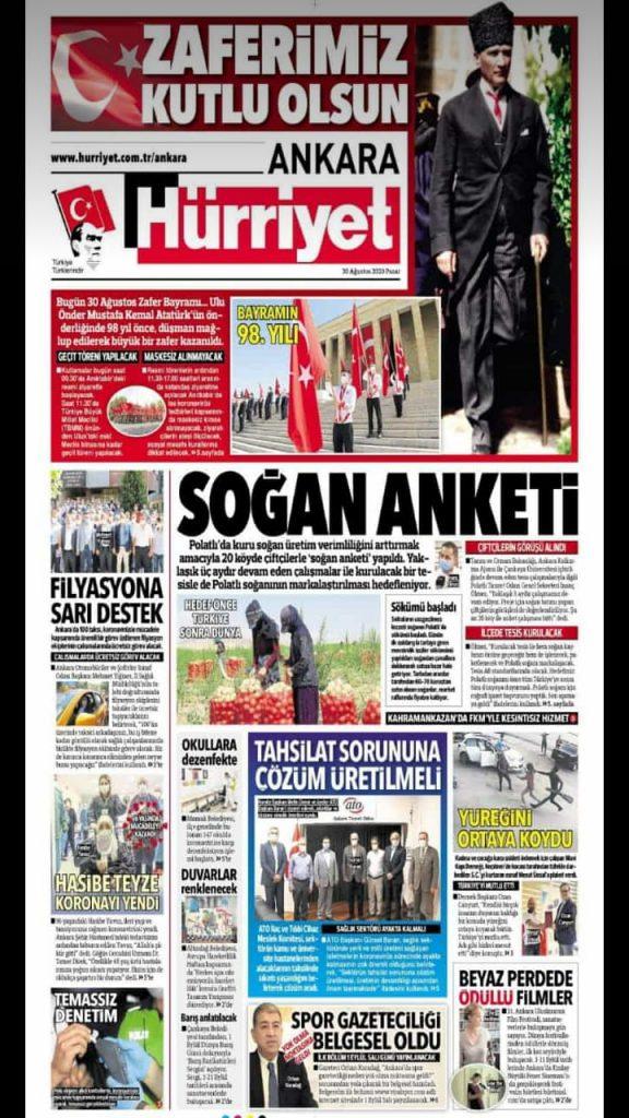 31.08.2020- Hürriyet Ankara- SOĞAN ANKETİ
