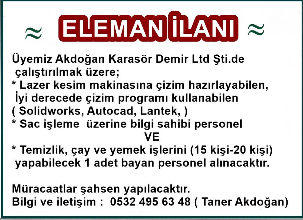 akdoğan karasör eleman ilanı (çizim yapacak ve temizlik için )