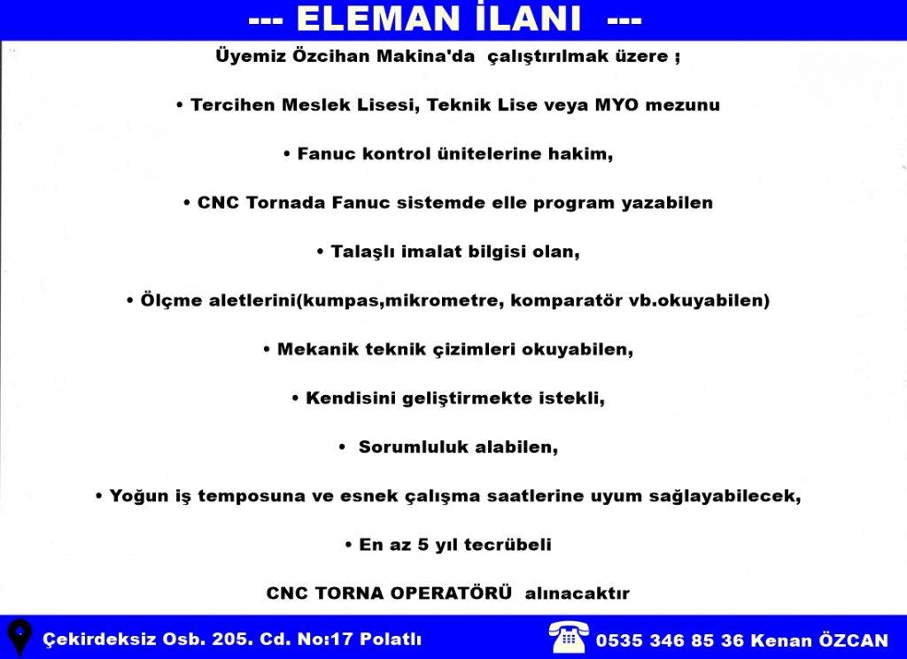ÖZCİHAN MAKİNA ELEMAN İLANI CNC OPERATÖRÜ