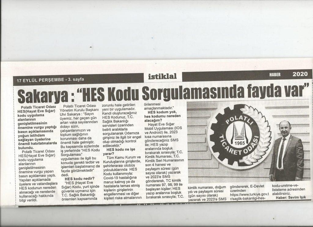 17.09.2020- İstiklal Gazetesi- SAKARYA ; HES KODU SORGULAMASINDA FAYDA VAR
