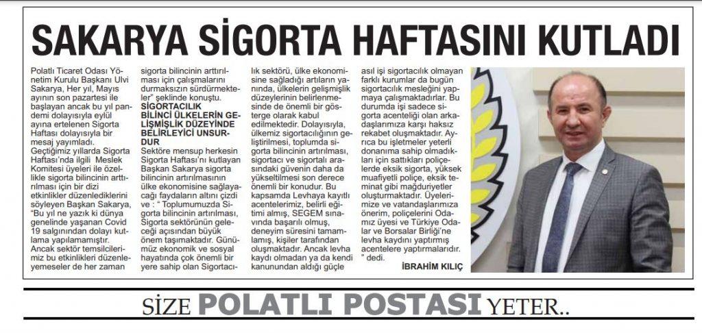 21.09.2020- Polatlı Postası- SAKARYA SİGORTA HAFTASINI KUTLADI