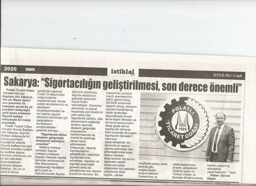 22.09.2020-İstiklal Gazetesi- SAKARYA, SİGORTACILIĞIN GELİŞTİRİLMESİ SON DERECE ÖNEMLİ