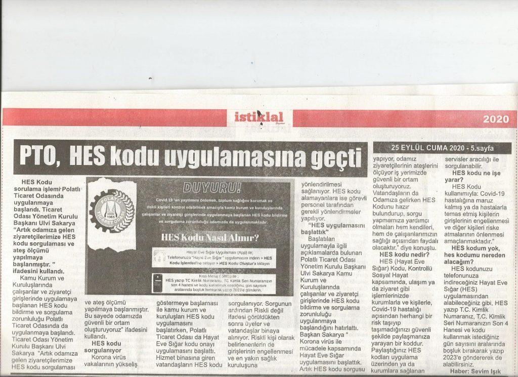25.06.2020- İstiklal Gazetesi- PTO, HES KODU UYGULAMASINA GEÇTİ