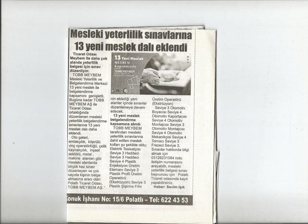29.09.2020- İstiklal Gazetesi- MESLEKİ YETERLİLİK SINAVLARINA 13 YENİ MESLEK DALI EKLENDİ