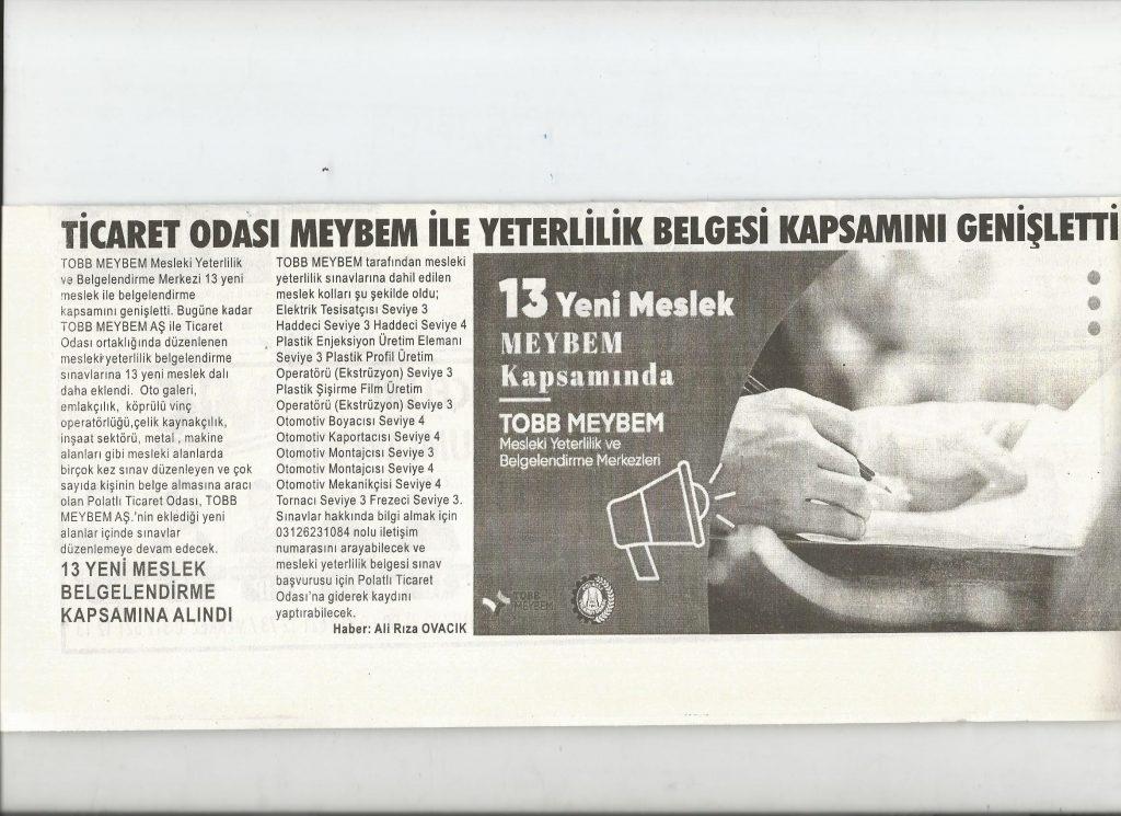 29.09.2020- Duatepe Gazetesi- TİCARET ODASI MEYBEM İLE YETERLİLİK BELGESİ KAPSAMINI GENİŞLETTİ
